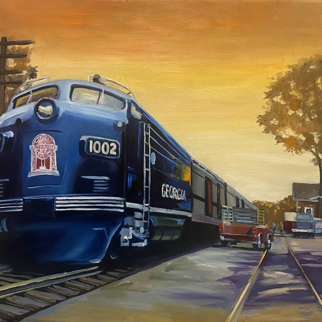 Harlem Train Depot painting