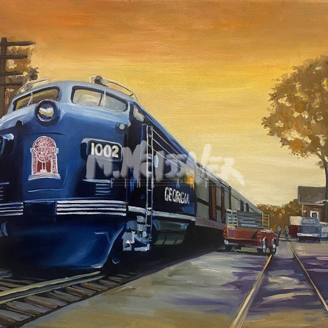 Harlem Train Depot painting